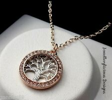 Adorable Silver & Rose Gold Rhinestone Ring & Chain Tree Of Life Necklace 50cm