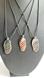 """STRIPED  METAL PELLET NECKLACE PENDANT ON 20"""" THIN BLACK CORD NEW BAGGED"""