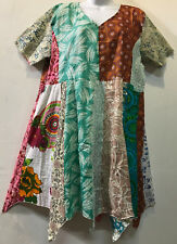 Nwt FUNKY STUFF patch hippy hanky boho cotton TOP TUNIC DRESS 1X 2X Free shippin