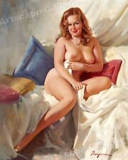 "Elvgren 1960s Strawberry Blonde Pin-Up Girl ""Nude Portrait"" Poster - 20x24"