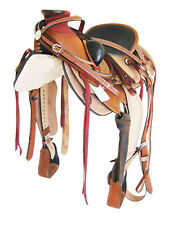 "ROPER WADE TREE SADDLE PKG. TOOLED NATURAL/TAN 17"" BLACK SEAT (1097)"