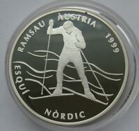 ANDORRA 10 DINERS 1999 RAMSAU CHAMPIONSHIP CROSS- COUNTRY SKIING SILVER PROOF