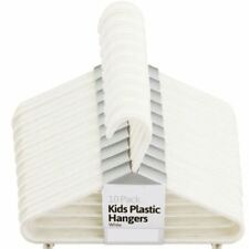 NEW 100PCS KIDS PLASTIC HANGERS WHITE CLOTHES STORAGE SHIRTS TROUSERS HOME