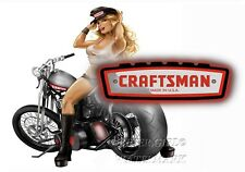 CRAFTSMAN TOOL STICKER BIKER GIRL PINUP SEXY VINTAGE DECAL MECHANIC TOOL BOX USA