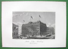 PHILADELPHIA Public Ledger Building on CHestnut Street - 1876 Antique Print