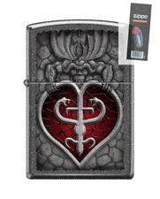 Zippo 0807 Gothic Heart Gargoyle Iron Stone Finish Lighter + FLINT PACK