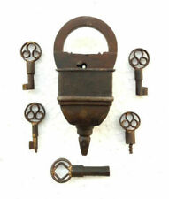 Old Antique Style Looking Rare 5 Keys Iron Tricky / Puzzle Pad Lock, Collectible
