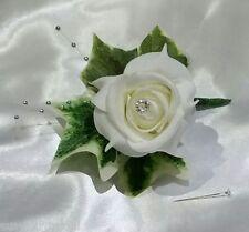 Mariage boutonnière ivoire rose / strass silver ball spray / feuilles de lierre