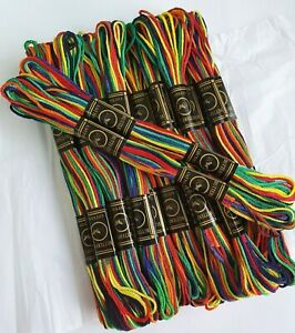 Rainbow & Multi Colour Cross Stitch Threads Cotton embroidery crochet thread 8m