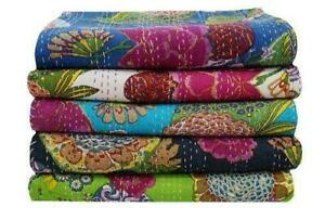 5 Pcs Wholesale New Quilt Indian Handmade Kantha Fruit/Paisley Quilt Twin