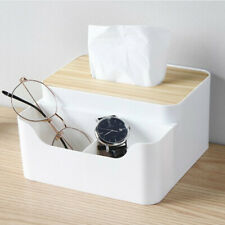 Home Desktop Tissue Box Bamboo Wood Lid Paper Holder Remote Control Storage Box