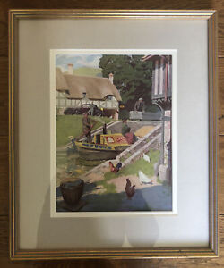 Framed 1936 Coloured Barge Holiday English Print. By KJ Petts. Vintage. Pretty.
