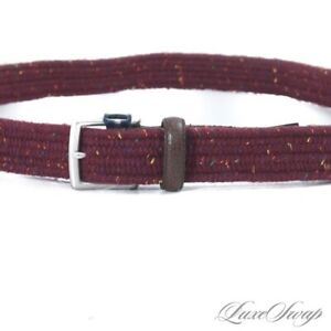 NWT Brooks Brothers Wine Donegal Tweed Speckle Stretch Leather Tab Belt M NR #5
