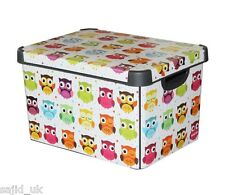 Curver Stockholm Large Design Deco Storage Box with Lid 22L - Owls - FREE P&P