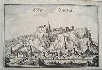 Essing Burg Randeck Altmühltal  Bayern Merian Kupferstich der Erstausgabe 1644