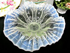 Opalescent Moonstone Elegant Scalloped Vintage Pressed Glass  bowl footed