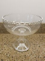 """Sawtooth Edge Clear GLASS PEDESTAL COMPOTE BOWL  8"""" tall EAPG? Centerpiece Fruit"""