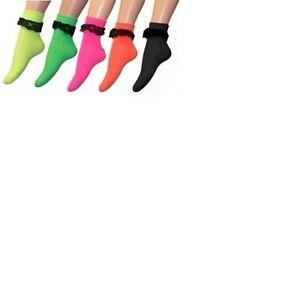 FRILLY ANKLE SOCKS NEON COLOUR ADULT SIZE FOR FANCY DRESS UK SELLER.