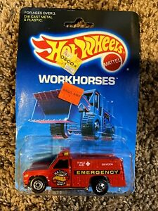 """Hot Wheels """"Rescue Ranger"""" Workhorses Series #5145 New on Card 1986 Red 1:64"""