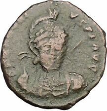 Honorius 401AD Authentic Ancient Roman Coin Constantinopolis seated Rare  i52609