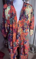 NWOT Lularoe Shirley kimono Medium Sheer polyester pink Multi Floral Geo Print