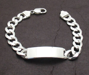 """9"""" Mens 11mm Solid Miami Cuban Curb Chain ID Bracelet Real 925 Sterling Silver"""