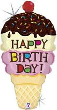 "XL 33"" Ice Cream Cone Super Shape Mylar Foil Birthday Balloon"