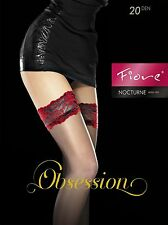 """Fiore """"nocturne"""" Sheer 20 Denier Hold UPS With Lace Top Red 3 - Medium"""
