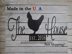 The Chicken House Sign, Hen House Sign, Chicken Coop, Established Date, S1192