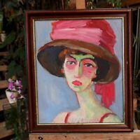 tableau huile /toile  - portrait au chapeau _