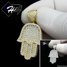 925 STERLING SILVER ICY DIAMOND BLING HAMSA HAND SILVER/GOLD CHARM PENDANT*SP94