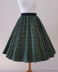 1950s Circle Skirt Green Gold Snowflakes - All Sizes - Christmas Xmas Festive