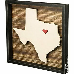 """Primitives by Kathy 27787 Wanderlust Inset Box Texas Sign + Movable Heart 16.5"""""""