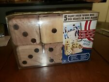 Giant Wooden Lawn Dice set of 5 New In Box 1$ Start Look!