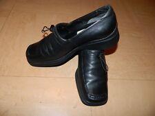 Ladies Ecco  Shoes size UK 6  EU 39 Black Leather Wedge Heels Nursing/Care Work