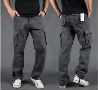 US Mens Cargo Work Pants Combat Military Thick Casual/Travel Trousers 100%Cotton