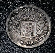 1881 Portuguese India Goa 1/8 Rupia Rupee Silver Coin 902,000 Mintage Luíz I