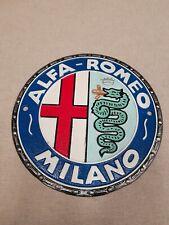 Alfa Romeo Milano Car Sign Cast Iron Advertising Garage Man Cave Wall Sign
