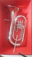EUPHONIUM 3 VALVE OF PURE BRASS IN SILVER POLISH + WOOD CASE+ MOUTHPC +FREE SHIP