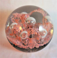 Pink Lacey Flower Round Paperweight Controlled Bubbles Hand Blown