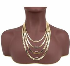 Yellow 14K Flat Herringbone Chain 4mm to 7mm Necklace Gold Plated