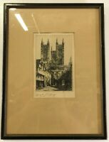 "Original Etching by Edward J. Cherry "" Lincoln Cathedral & Exchequer Gate"" J8"