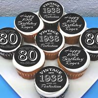 """Birthday 80th 50th Edible Icing Cupcake Toppers - 2"""" - PRE-CUT - Sheet of 15"""