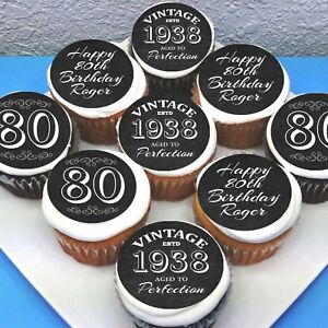 """Birthday 80th 50th Pre-cut 2"""" Edible Icing Cupcake Toppers - Sheet of 15"""
