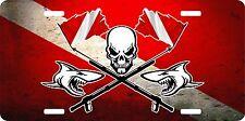 Scuba Diving Diver Flag Shark Ocean Skull Speargun License Plate Car Truck Tag