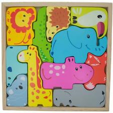 Animals Learning Wooden Blocks Puzzle
