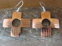 Navajo Indian Small Copper Zia Earrings by Douglas Etsitty!