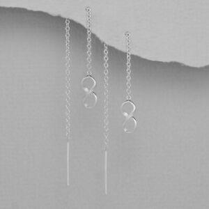 925 Sterling Silver Geometric Infinity Thread Through Earrings Threader Women