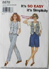 Simplicity 8878 Easy Misses Pull-On Pants Shorts Vests Sewing Pattern Sz 8-18
