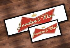 PERSONALISED BUDWEISER BEER BAR RUNNER IDEAL FOR HOME PUB MAT PARTY OCCASION